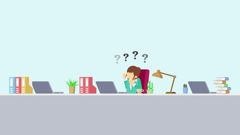 Business woman is working. Thinking of troubled. Business emotion concept. Loop Animation