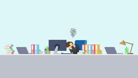 Business man is working. Be troubled. Business emotion concept. Loop Animation