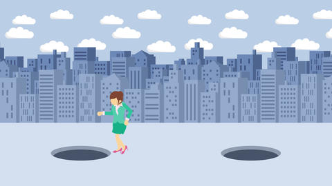Business woman jump over the hole. Background of buildings. Risk concept. Loop Animation