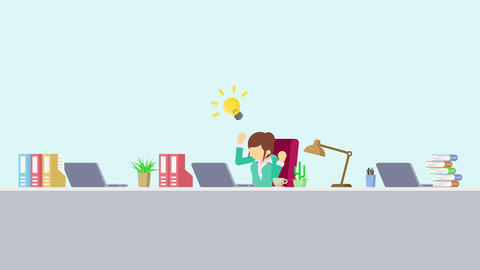 Business woman is working. Thinking of idea. Business emotion concept. Loop Animation