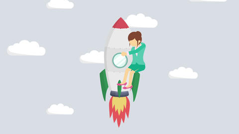 Business woman flying on rocket through cloud sky. Leap concept. Loop Animation