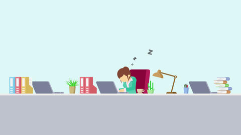 Business woman is working. Tired and sleep. Business emotion concept. Loop Animation