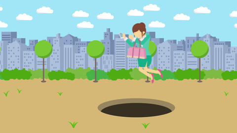 Business woman jump over the hole. Background of town. Risk concept. Loop Animation