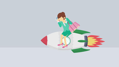 Business woman flying on rocket. Leap concept. Loop illustration in flat style Animation