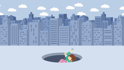 Business woman fall into the hole. Background of buildings. Risk concept. Loop CG動画