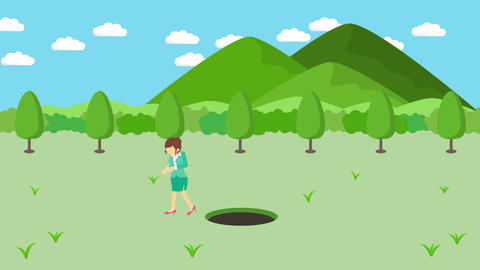 Business woman jump over the hole. Background of…, Stock Animation