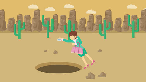 Business woman fall into the hole. Background of desert. Risk concept. Loop Animation