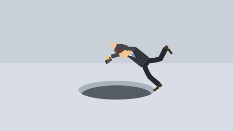Business man fall into the hole. Risk concept. Loop illustration in flat style Animation