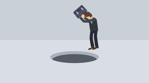 Business man jump over the hole. Risk concept. Loop illustration in flat style CG動画