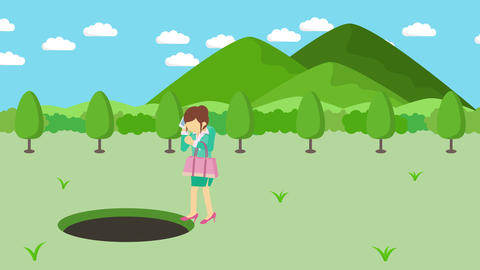 Business woman fall into the hole. Background of mountains. Risk concept. Loop Animation