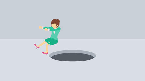 Business woman fall into the hole. Risk concept. Loop illustration in flat style CG動画
