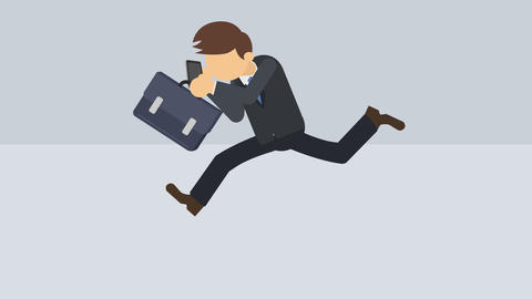 Business man running with suitcase and phone. Success concept. Loop illustration CG動画素材