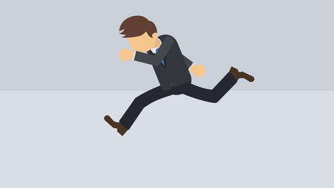 Business man running. Success concept. Loop illustration in flat style Animation