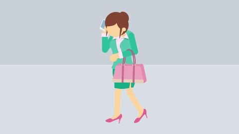 Business woman running with briefcase and phone. Success concept. Loop Animation