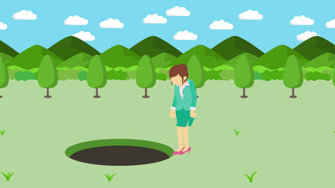 Business woman jump over the hole. Background of mountains. Risk concept. Loop Animation