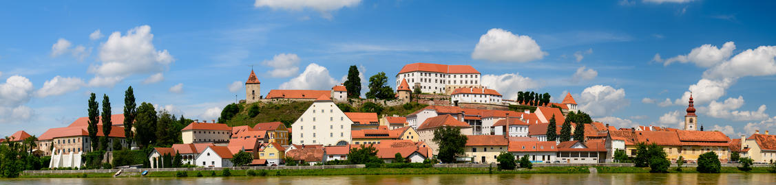 Ptuj, Slovenia, panoramic shot of oldest city in Slovenia with a castle Photo