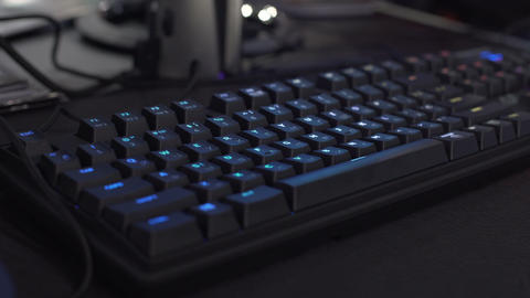 Gamer keyboard with rgb lighting, colorful qwerty, latest gaming innovations Footage