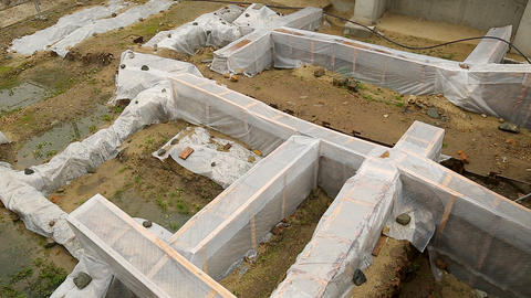 Archeological excavations covered with plastic sheets, ruins protection, history Footage