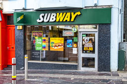 Caernarfon / Wales - May 01 2018 : Subway on a windy day in the rain Photo