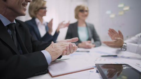 Business people applauding in office, company team achievement, success concept Footage