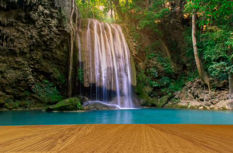 Erawan Waterfall, beautiful forest and wooden floor Photo
