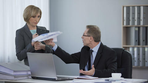 Tired boss angry at assistant, corporate ethics, inappropriate work behavior Live Action