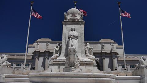 WASHINGTON, DC, USA: Columbus Fountain, located at Union... Stock Video Footage