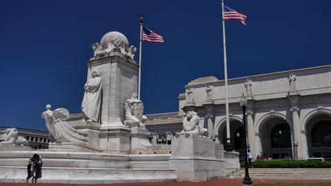 WASHINGTON, DC, USA: Columbus Fountain, located at Union… Stock Video Footage