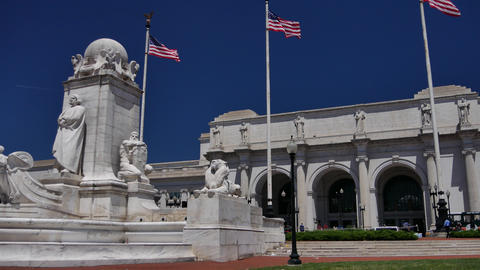 WASHINGTON, DC, USA: Columbus Fountain, located at Union Station in Washington, GIF