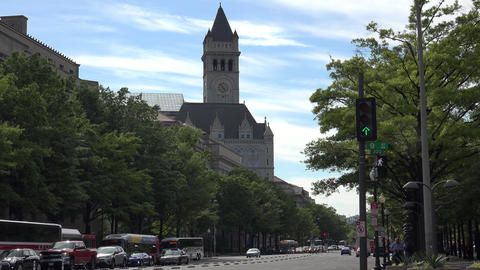 WASHINGTON DC, USA. Building at the Pennsylvania Avenue with traffic cars Live Action