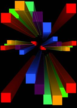 Group of multicolored 3d prism in perspektive, vanishing point. Colorful Vector