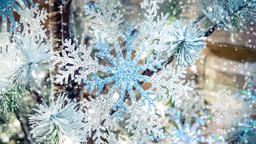 Transparent Snowflake Decor New Year Christmas Decoration Footage