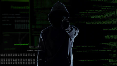 Hacker silhouette holding gun, destroying security camera, threat and crime Live Action