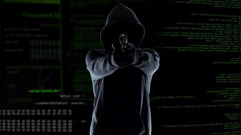 Hazardous hacker shooting into camera, destroying hardware, cyberterrorism crime Live Action