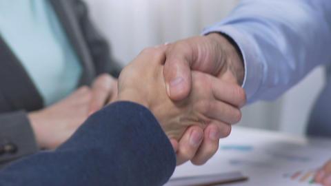 Handshake after negotiations, positive lending decision, property investor Live Action