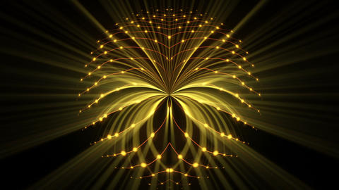 Slow Wavy Glowing Circle Cosmic String Rays Eye Dot Particles Black Background Footage