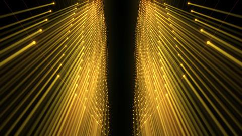 Slowly Sliding Golden Sun Rays Carcass Tunnel With Sparkles Black Background VJ Live Action