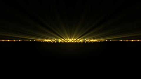 Slow Motion Golden Sun Rays Line With Sparkling Particles On Black Background VJ Live Action