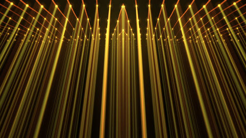 Slowly Moving Golden Strings Shining Rays Wall With Dot Sparkling Particles On Footage