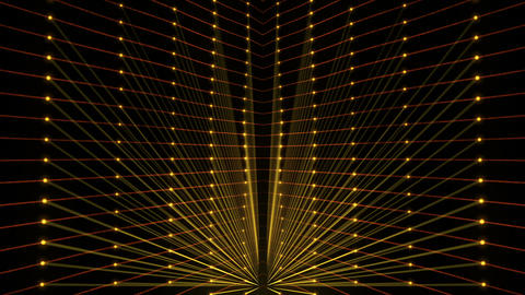 Golden String Rays Sun Gate Flower With Sparkling Dot Particles VJ Loop Footage