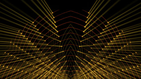 Golden Shining Golden Strings Grid Combined With Colorful Rays Black Background Footage