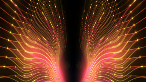 Slowly Glowing Shining Golden String Lines With Colorful Particle Sparkles Black Footage