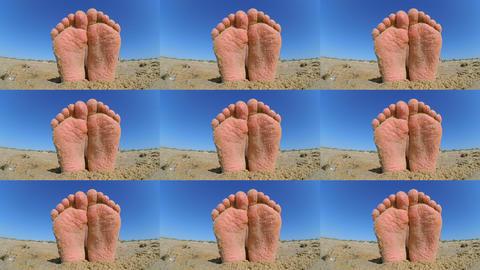 Feet legs strewn sprinkled sand sanded on sandy beach ckose-up Footage