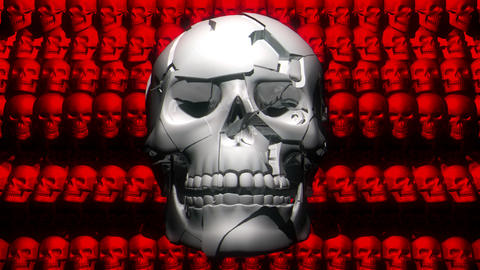 Hard Pulsing White Silver Smiling Creepy Skull On Red Wall Skulls Horror Live Action