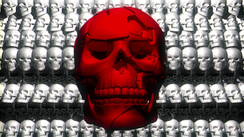 Shaking Hard Red Skull Displacing Face Particles Pulse With Big Horror Helloween Live Action