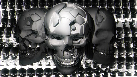 Three Smiling Metallic Silver Skulls With Displacing Shining Particles Liquid Footage