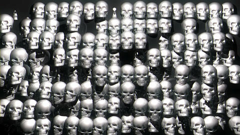 Jumping Silver White Skulls Horror Helloween Black Background VJ Loop Live Action