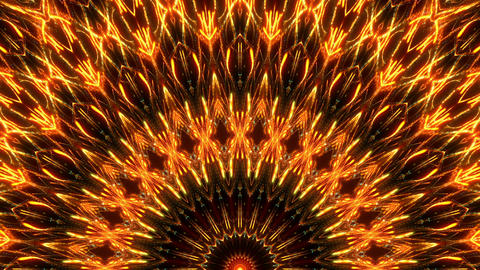 Glowing Golden Firework Flower Pattern With Sparkling Kaleidoscopic Particles On Live Action