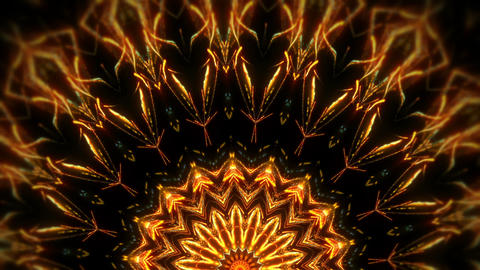 Rotating Kaleidoscopic Mosaic Golden Shining Sun With Sparkling Particles Black Live Action