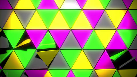 Glowing Wall With Colorful Geometrical Shining Discplacing Triangle Particles VJ Live Action
